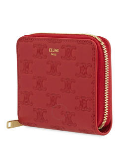 Ladies Embossed Smooth Calfskin Compact Wallet In Red