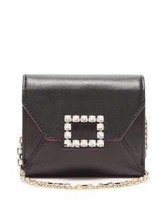 Très Vivier small crystal-embellished leather bag
