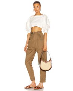 Chloe Small Darryl Raffia Shoulder Bag in Brown,Neutral