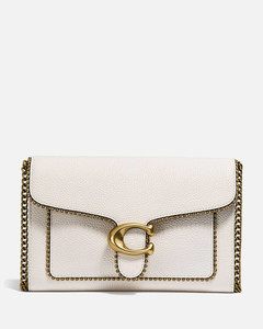 Women's Polished Pebble Bead Chain Tabby Chain Clutch - Chalk