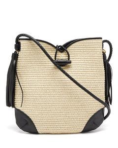 Tyag leather-trim raffia shoulder bag