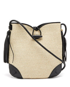 Tyag leather-trim raffia shoulder bag