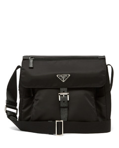 Leather-trimmed nylon satchel