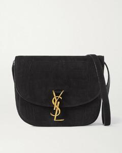 Kaia Medium Leather-trimmed Croc-effect Suede Shoulder Bag