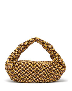 The Jodie small chevron-beaded wooden shoulder bag