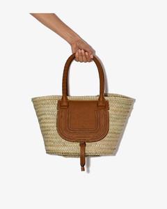 brown Marcie straw leather basket bag