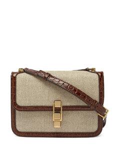 Carrémedium leather-trim canvas shoulder bag