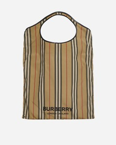 Pocket striped Econyl tote bag
