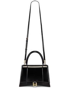 Medium Hourglass Top Handle Bag in Black