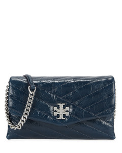 Kira dark blue leather wallet-on-chain