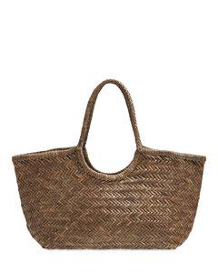 Big Nantucket Woven Leather Basket Bag