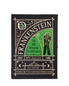 Frankenstein-embroidered book clutch bag