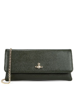 Victoria green leather clutch