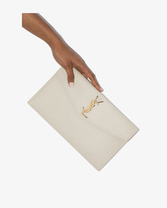 White Uptown Leather Clutch Bag