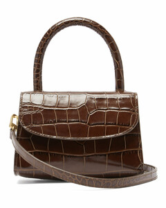Mini crocodile-effect leather handbag