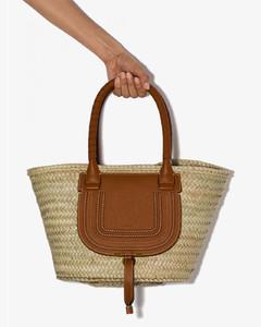 Marcie Leather And Raffia Shopping Bag