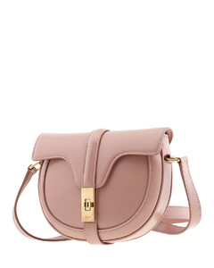 Ladies Pink Small Besace 16 Bag In Satinated Calfskin