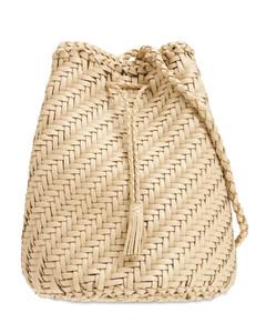 Pompom Doublej Woven Leather Basket Bag