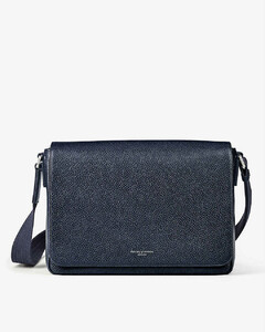 Reporter zipped grained-leather messenger bag