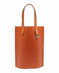 Belt logo-debossed leather tote bag