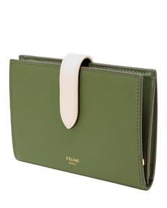 Essential Green Strap Wallet In Bicolour Grained Calfskin