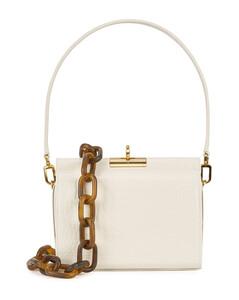 Gemma ivory crocodile-effect leather shoulder bag