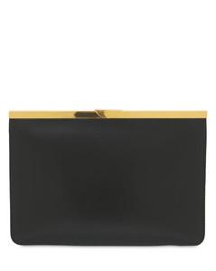 Hinge Medium Leather Clutch