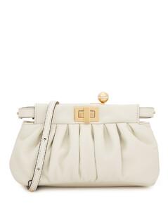 Peekaboo Click white leather clutch