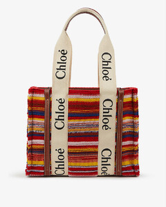 Woody striped recycled cashmere and leather tote bag