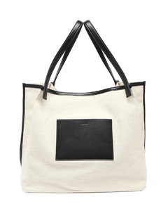 Leather-trimmed canvas tote bag