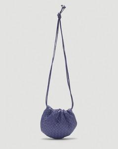 Woven Leather Mini Shoulder Bag in Purple