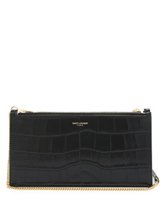 Foiled-logo crocodile-effect leather pouch