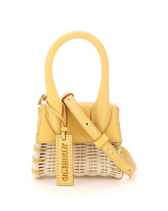 LE CHIQUITO WICKER AND LEATHER MICRO BAG