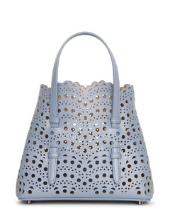 Mina mini 20 blue leather tote bag