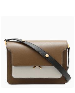 Black/brown/white Saffiano Trunk bag