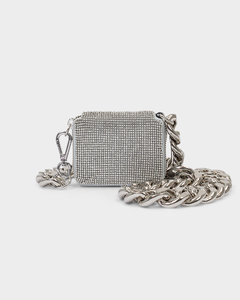 Crossbody Bag Bike Wallet In White Silver Mesh
