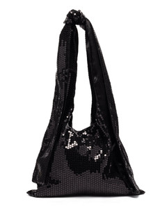 Knotted-strap sequinned tote bag