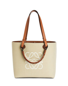 Small Anagram Tote bag in jacquard and calfskin