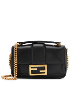 Baguette mini black leather shoulder bag