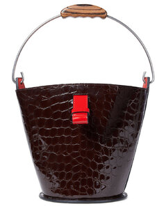 Woman Glossed Croc-effect Leather Bucket Bag