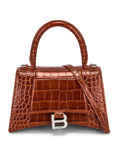 Small Hourlgass Top Handle Bag in Brown