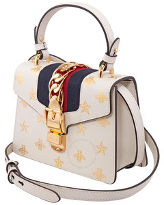 White / Gold / Blue Ladies Sylvie Bee Star Mini Leather Bag