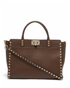 Rockstud grained-leather cross-body bag