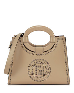 Runaway small taupe logo leather tote
