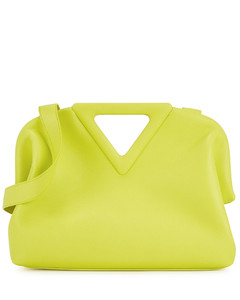 Point lime leather clutch