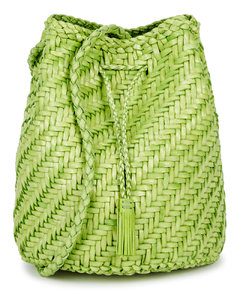 Pompom Double Jump woven leather bucket bag