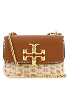 Two-tone leather and wicker Eleanor shoulder bag