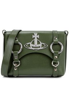 Betty mini green leather satchel