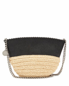 Falabella small raffia and faux-leather bag