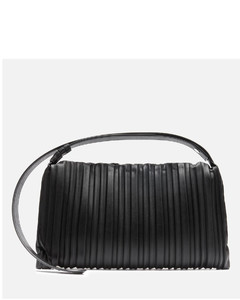 Women's Pleated Vegan Puffin Bag - Black
